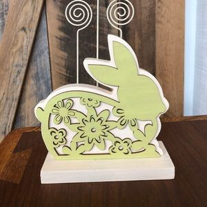 Green Bunny Laser Cut Wooden Wire Photo Holder